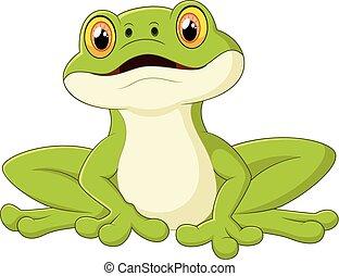 mignon, dessin animé, grenouille