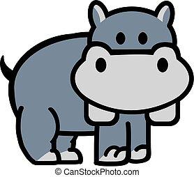 mignon, dessin animé, hippopotame