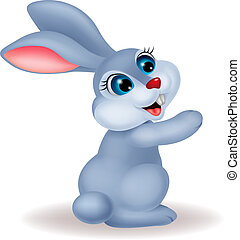 mignon, dessin animé, lapin