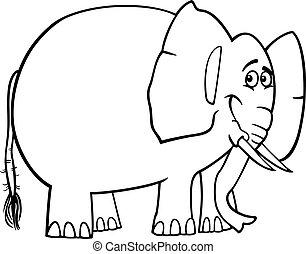 mignon, dessin animé, livre coloration, éléphant