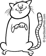 mignon, dessin animé, livre coloration, chat