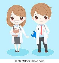 mignon, dessin animé, médecins