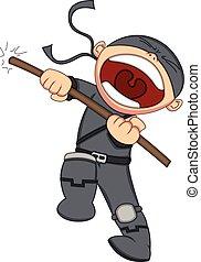 mignon, dessin animé, ninja