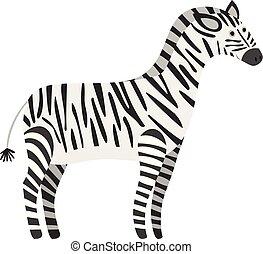 mignon, dessin animé, noir, zebra, sourire, blanc