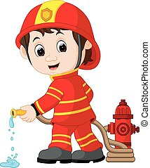 mignon, dessin animé, pompier