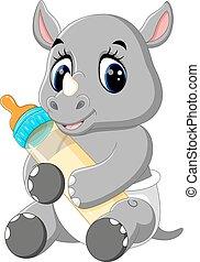 mignon, dessin animé, rhinocéros