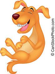 mignon, dessin animé, rire, chien