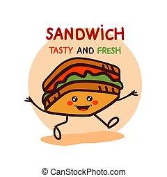 mignon, dessin animé, sandwich, logo