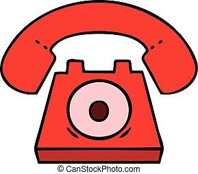 mignon, dessin animé, téléphone rouge