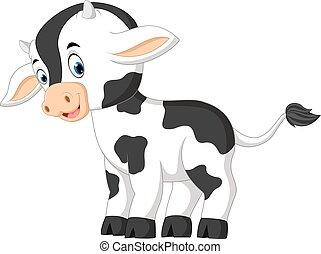 mignon, dessin animé, vache bébé