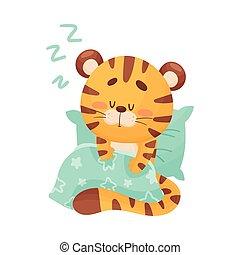 mignon, dessin animé, vecteur, couvert, illustration, tigre, caractère, couverture, oreiller, dormir, doux