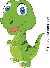 mignon, dessin animé, vert, dinosaure
