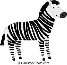 mignon, dessin animé, zebra, animal, icône