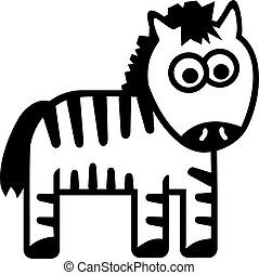 mignon, dessin animé, zebra