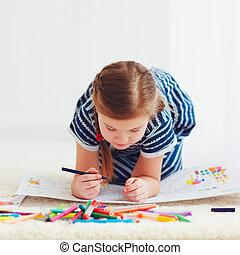 mignon, dessin, pose, quoique, portrait, girl, heureux, moquette