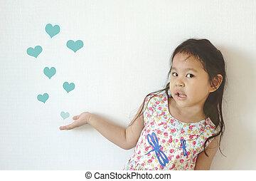 mignon, dessiner, souffler, coeur, beaucoup, projection, air, forme, girl