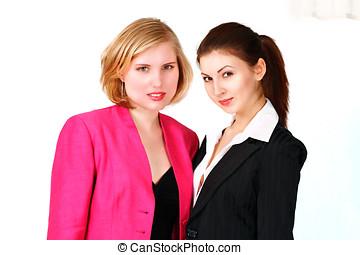 mignon, deux, femmes affaires