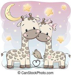 mignon, deux, girafes