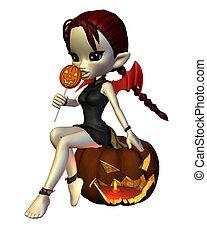 mignon, diable, toon, -, halloween, 2