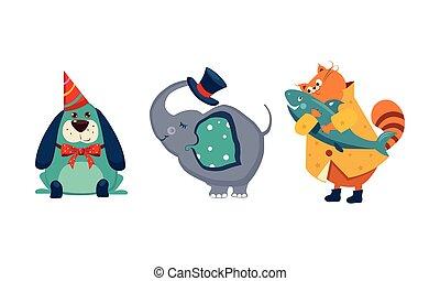 mignon, différent, animaux, caractères, grand, chapeau drôle, fish, attrapé, chien, illustration, chat, vecteur, chapeau, tenue, éléphant, fête, coffre, sommet, actions