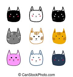 mignon, différent, coloré, style, illustration, chat, vecteur, faces, dessin animé