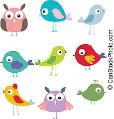 mignon, différent, ensemble, dessin animé, oiseau