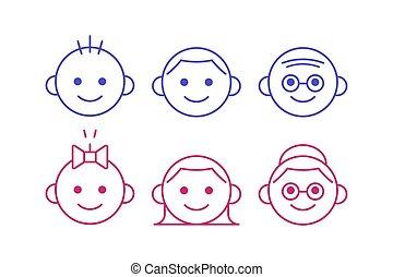 mignon, différent, ensemble, gens, icônes simples, isolé, âges, arrière-plan., bébé, female., ligne, mâle, blanc, personne agee, icône