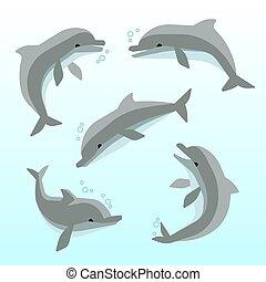 mignon, différent, ensemble, vecteur, poses, dauphins