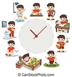 mignon, différent, garçon, simple, situations., isolé, quotidiennement, jour, arrière-plan., time., routine, blanc, watches., rouges