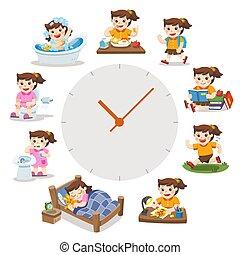 mignon, différent, girl, simple, situations., isolé, quotidiennement, jour, arrière-plan., time., routine, blanc, watches., rouges