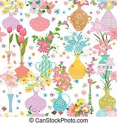 mignon, différent, seamless, texture, collection, vases, fleurs