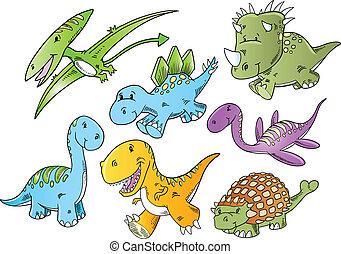 mignon, dinosaure, animal, vecteur