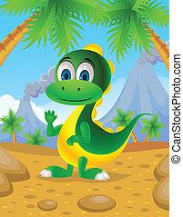 mignon, dinosaure, dessin animé
