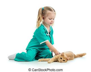 mignon, docteur, isolé, chat, girl, jouer, gosse