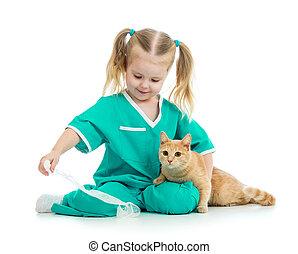 mignon, docteur, isolé, chat, jouer, gosse