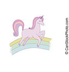 mignon, doodle., main, fantasme, licorne, dessiné, dessin animé