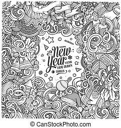 mignon, doodles, cadre, année, nouveau, dessin animé, heureux