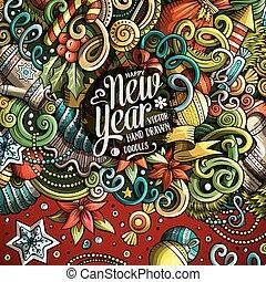 mignon, doodles, cadre, année, nouveau, dessin animé, ...