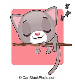 mignon, dormir, chaton gris