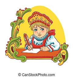mignon, dress., coloré, illustration, traditionnel, vecteur, russe, girl