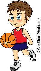mignon, dribble, basket-ball, garçon