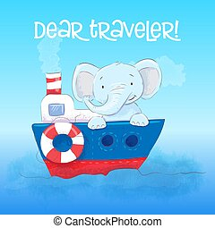 mignon, elefant, boat., affiche, peu, dessin animé, vecteur, style., flotte