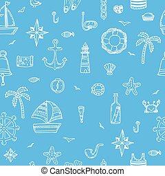 mignon, elements., modèle, seamless, icons., main, symboles, nautique, dessiné, marin
