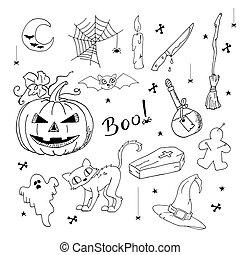 mignon, elements., remettre ensemble, dessiné, halloween