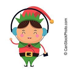 mignon, elfe, musique écouter, noël heureux, icône