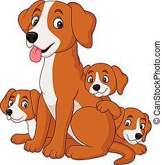 mignon, elle, chien, mère, chiots, dessin animé