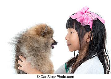 mignon, elle, enfant asiatique, doggy, heureux