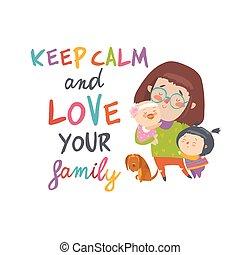 mignon, elle, jeunes enfants, mère, dessin animé