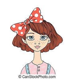 mignon, elle, yeux bleus, illustration, isolé, arc, arrière-plan., vecteur, hair., portrait, girl, blanc