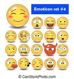 mignon, emoticons, ensemble, smiley